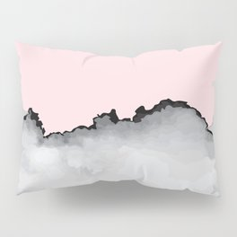 Blush Pink Gray and Black Graphic Cloud Effect Pillow Sham