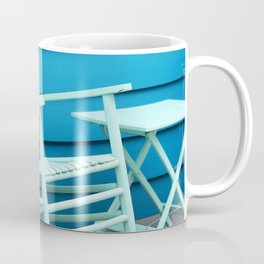 Coastal Beach House Art - Blue Rocking Chair - Sharon Cummings Coffee Mug