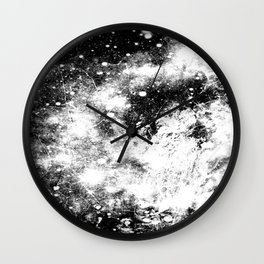 Chaotic Space : Galaxy Black White Gray Wall Clock