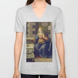 "Leonardo da Vinci ""Annunciation 2."" Unisex V-Neck"