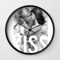 lesbian Wall Clocks featuring Barbie Lesbian KISS  by Jane Hazlewood