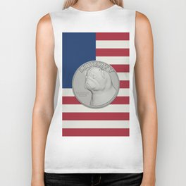 In Pug We Trust - Coin on USA flag Biker Tank