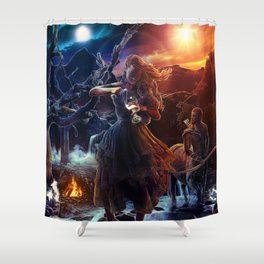 XIV. Temperance Tarot Card Illustration (Color) Shower Curtain