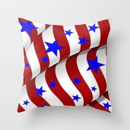 PATRIOTIC AMERICANA JULY 4TH BLUE STARS DECORATIVE ART Throw Pillow