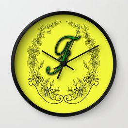 the letter F in a leaves and flowers . Art Wall Clock