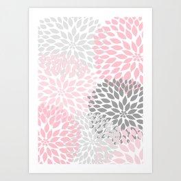 Pink Gray Dahlia Floral Art Print