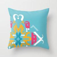 arabic Throw Pillows featuring Blue Arabic by Farah Saheb