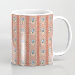 Vintage Wallpaper Pattern Blue Roses Coral Polka Dots Coffee Mug