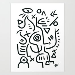 Life of Symbols Black and White Graffiti Art by Emmanuel Signorino  Art Print