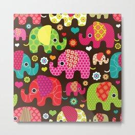 Retro Elephants Metal Print