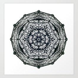 BLack and White Mandala One Art Print