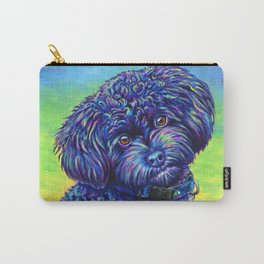 Opalescent Black Toy Poodle Carry-All Pouch