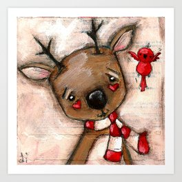 Red Bird and Reindeer - Christmas Holiday Art Art Print