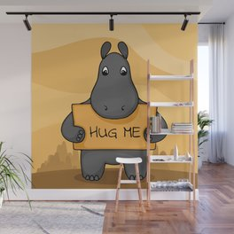 """Cute hand drawn Hippo with sign """"Hug me"""" Wall Mural"""