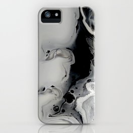 Black and Silver Fluid Macro Close-up Painting iPhone Case