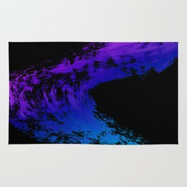 Fuchsia to Sky Blue Brush Drip Abstract Painting on Black Rug