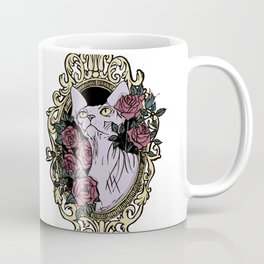 Point Seal Lilac Sphynx Cat in a Golden Baroque frame with Blush Roses Coffee Mug