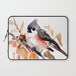 titmouse in the fall, Fall colors, birds and flowers bird art Laptop Sleeve
