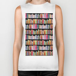 Vintage Book Library for Bibliophile Biker Tank