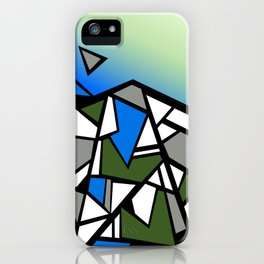 Glacier abstract blue mountain vector landscape iPhone Case