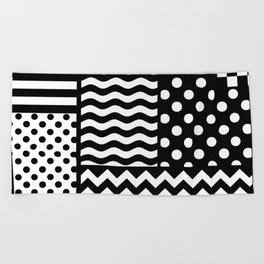 Mixed Patterns (Horizontal Stripes/Polka Dots/Wavy Stripes/Chevron/Checker) Beach Towel