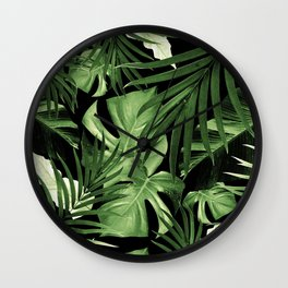 Tropical Jungle Night Leaves Pattern #5 #tropical #decor #art #society6 Wall Clock