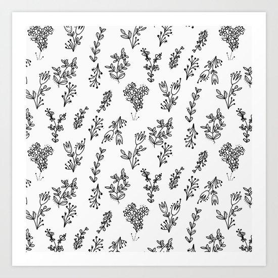 Floral White Pattern Art Print