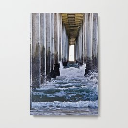 Abstract Low Tide Under Huntington Beach Pier Metal Print