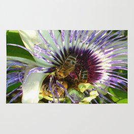 Close Up Of Passion Flower with Honey Bee  Rug