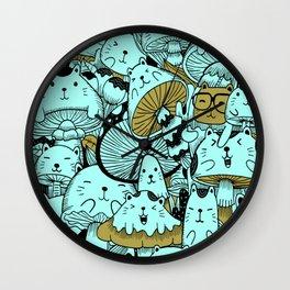 Japanese Cat Pattern Wall Clock