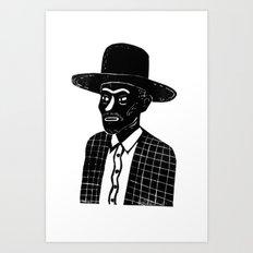 MAN WITH A HAT-LINOCUT Art Print