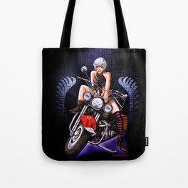Motorcycle pinup Tote Bag