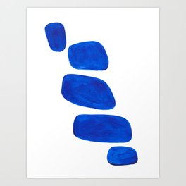 Mid Century Vintage Abstract Minimalist Colorful Pop Art Indigenous Phthalo Blue Pebbles Stacked Art Print