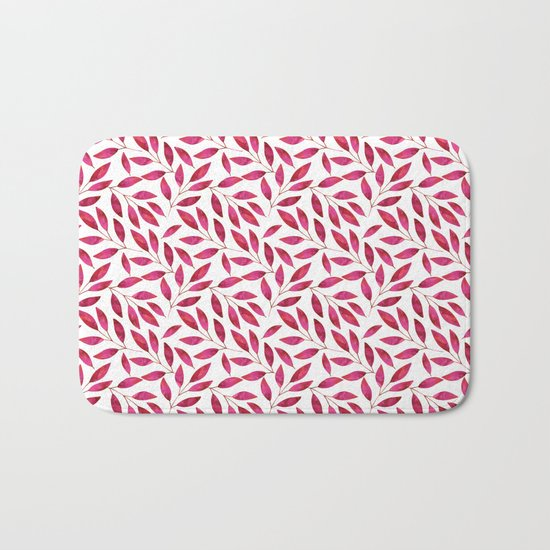 Watercolor Leaf allover Pattern pink red Bath Mat