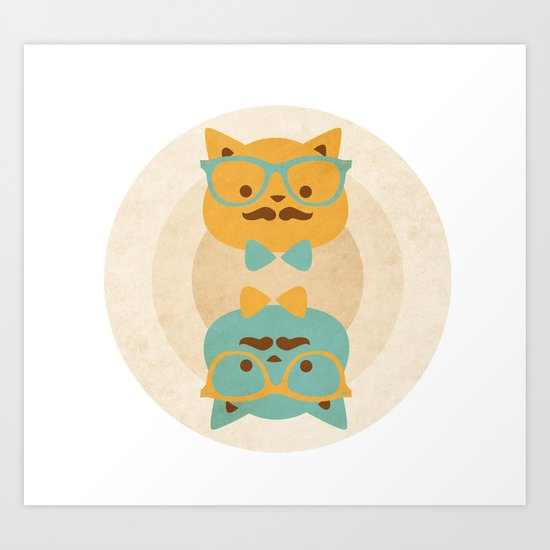 Vintage cats Art Print