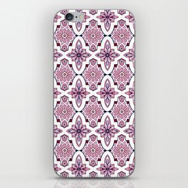 Lilac and burgundy flower Moroccan Tiles iPhone Skin