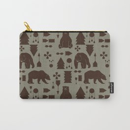 Tribal Bear Brown Carry-All Pouch