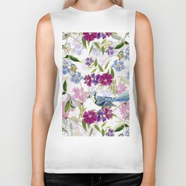Vintage & Shabby Chic - Blue Jay and Flowers Biker Tank