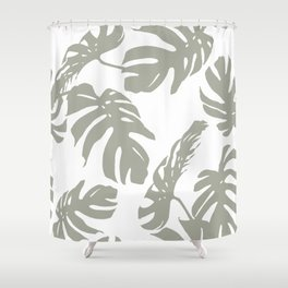Simply Retro Gray Palm Leaves on White Shower Curtain