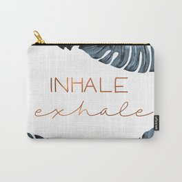 Inhale Exhale, Monstera Leafs, copper Carry-All Pouch