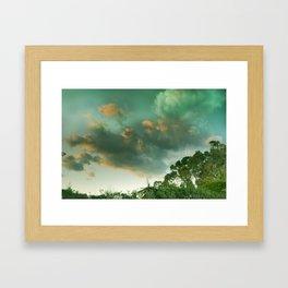 Windy sunset. Vintage Framed Art Print