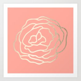 Flower in White Gold Sands on Salmon Pink Art Print