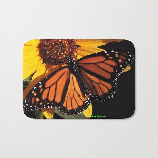Monarch on a Desert Sunflower Bath Mat