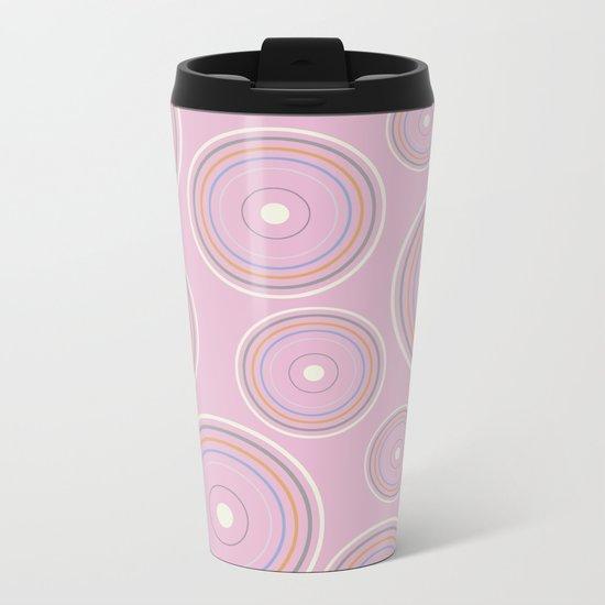 CONCENTRIC CIRCLES IN PINK (abstract pattern) Metal Travel Mug