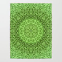 Sunflower Feather Bohemian Leaf Pattern \\ Aesthetic Vintage \\ Green Teal Aqua Color Scheme Poster