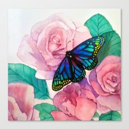 Butterfly and Roses Canvas Print