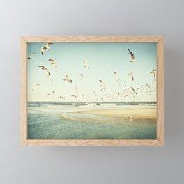Birds on Beach Photography, Seagulls Flying Coastal Photo, Teal Bird Ocean Picture, Turquoise Aqua Framed Mini Art Print