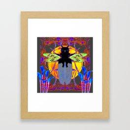 MYSTIC BLACK  BEETLE BLUE CALLA LILIES MOON ART Framed Art Print