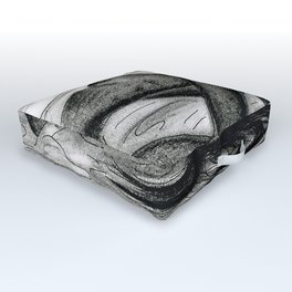 Passion in Black and White Outdoor Floor Cushion