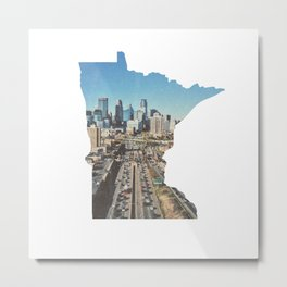 Minneapolis Minneosta State Outline Metal Print